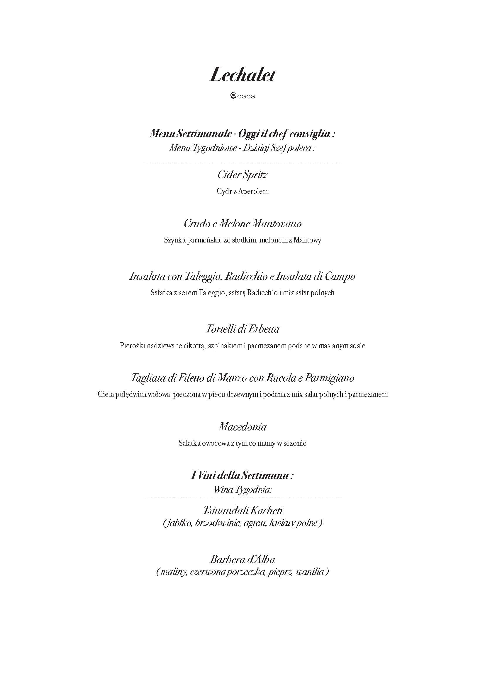 menu tyg IV